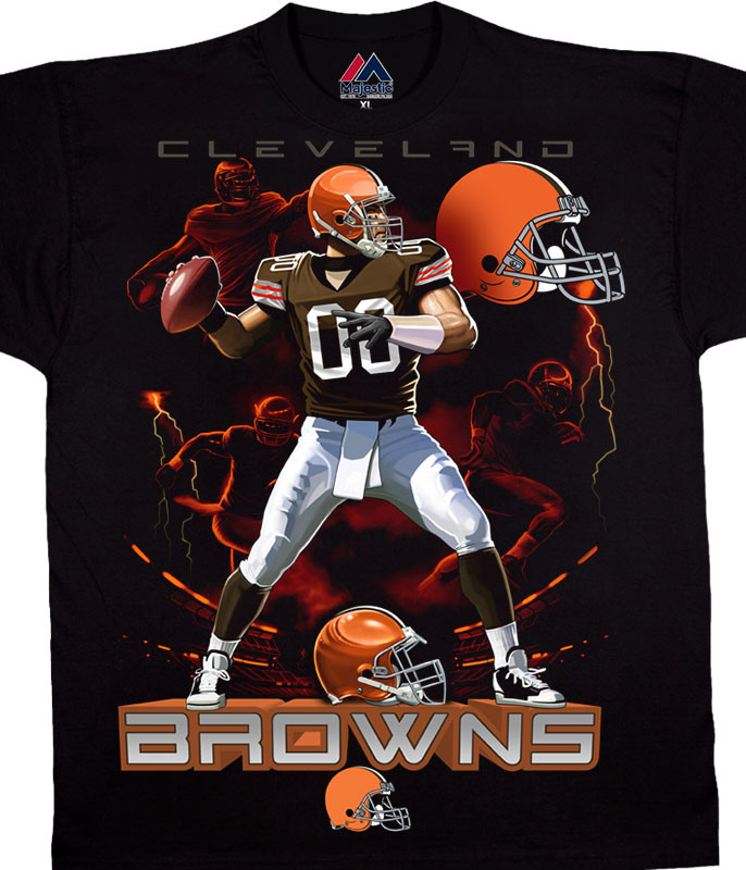 NFL Cleveland Browns Quarterback Black T-Shirt Tee Liquid Blue