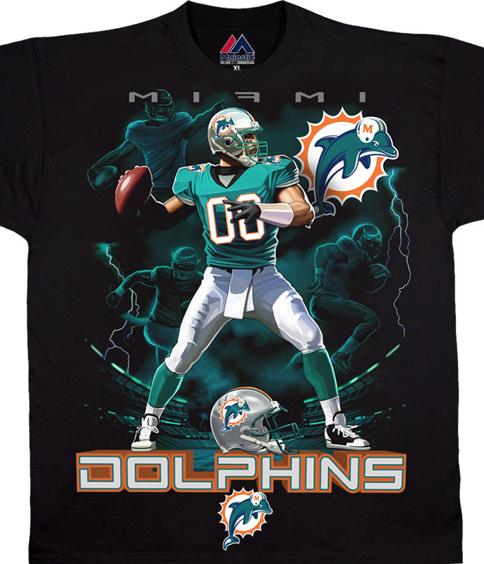 NFL Miami Dolphins Quarterback Black T-Shirt Tee Liquid Blue