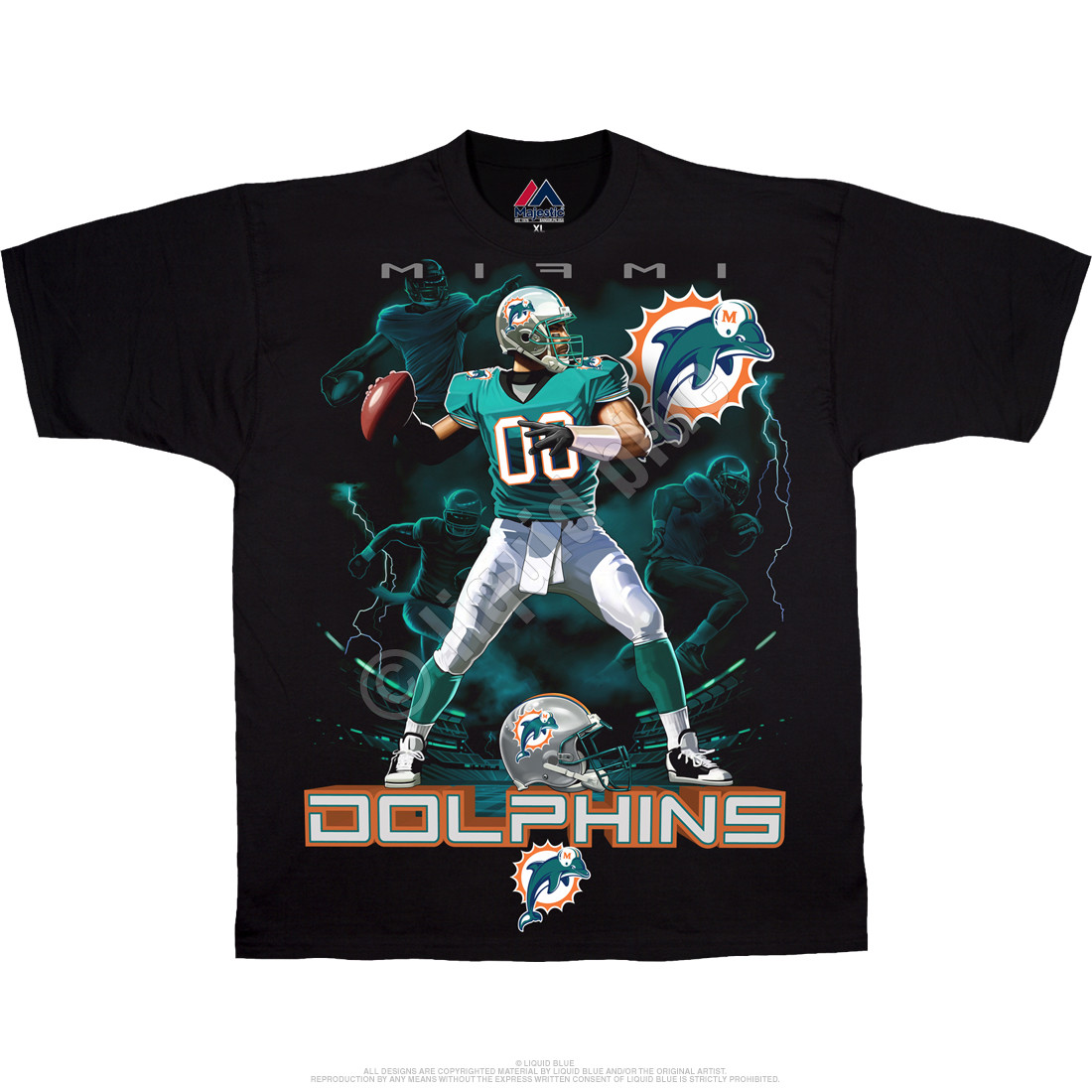 Miami Dolphins Quarterback Black T-Shirt