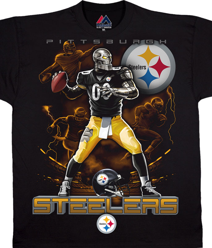 NFL Pittsburgh Steelers Quarterback Black T-Shirt Tee Liquid Blue