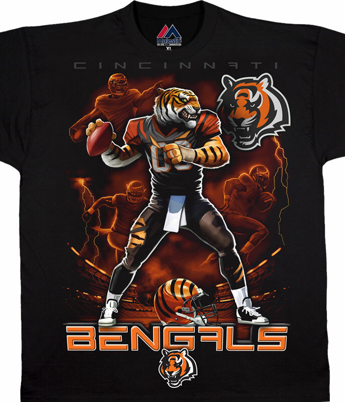Discount NFL Cincinnati Bengals Quarterback Black T Shirt Tee Liquid Blue  for cheap