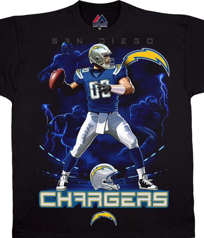 NFL Los Angeles Chargers Quarterback Black T-Shirt Tee Liquid Blue