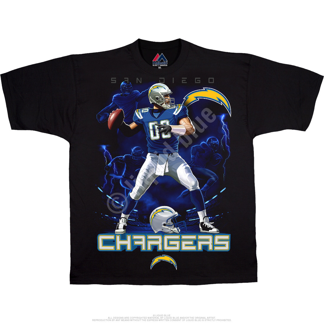 Los Angeles Chargers Quarterback Black T-Shirt