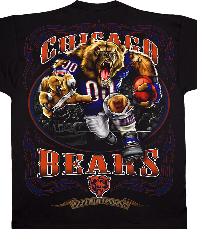 NFL Chicago Bears Running Back Black T-Shirt Tee Liquid Blue