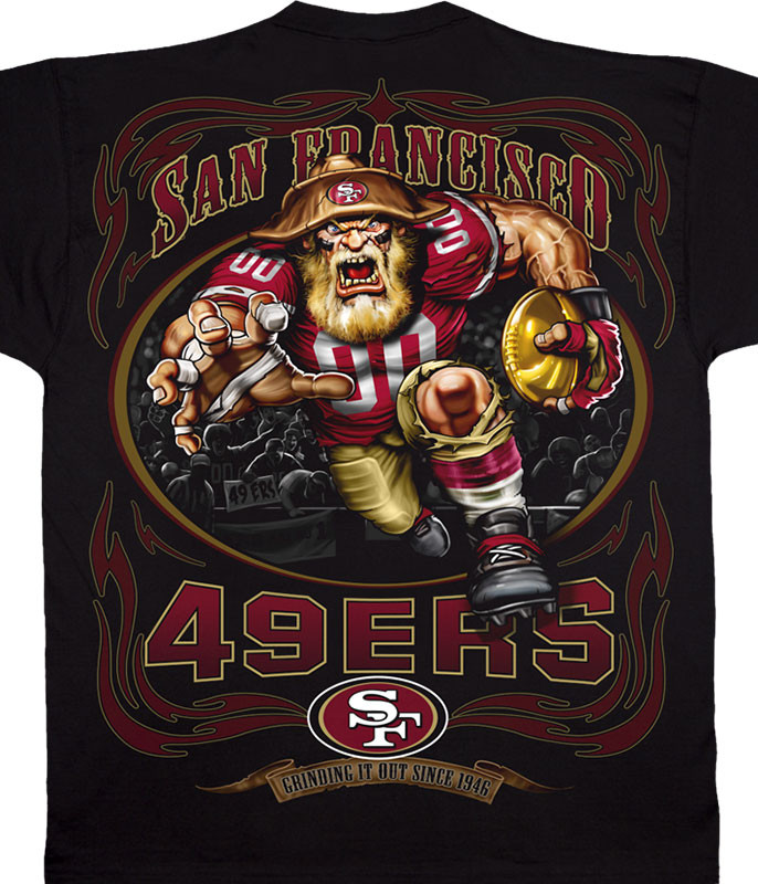 NFL San Francisco 49ers Running Back Black T-Shirt Tee Liquid Blue