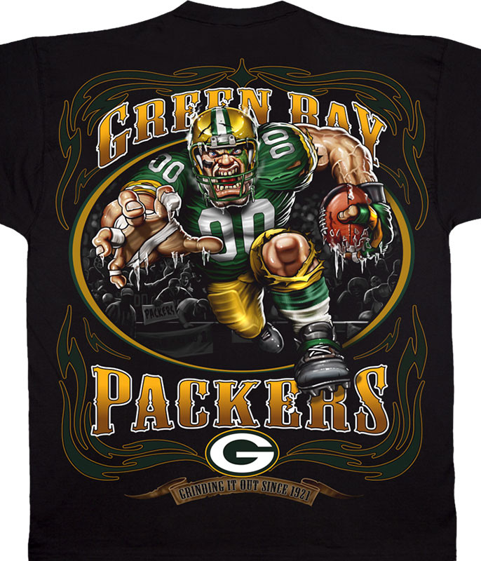 NFL Green Bay Packers Running Back Black T-Shirt Tee Liquid Blue