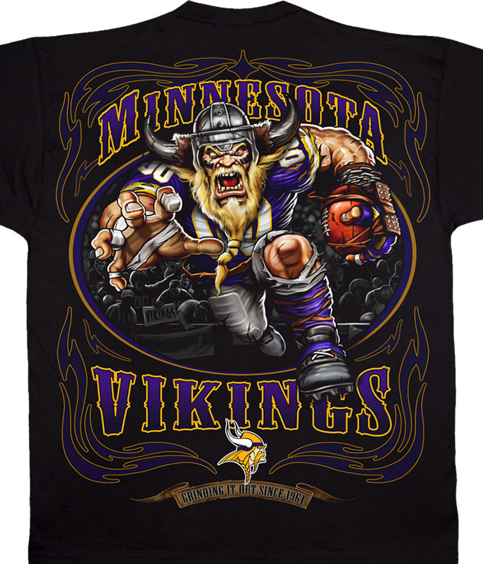 NFL Minnesota Vikings Running Back Black T-Shirt Tee Liquid Blue