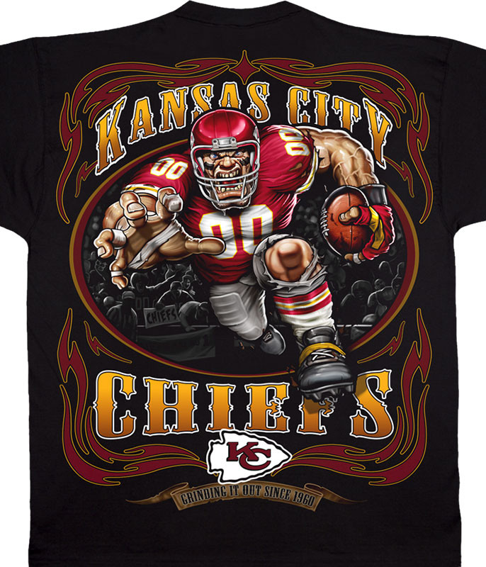 NFL Kansas City Chiefs Running Back Black T-Shirt Tee Liquid Blue