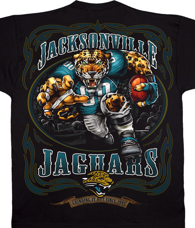 NFL Jacksonville Jaguars Running Back Black T-Shirt Tee Liquid Blue
