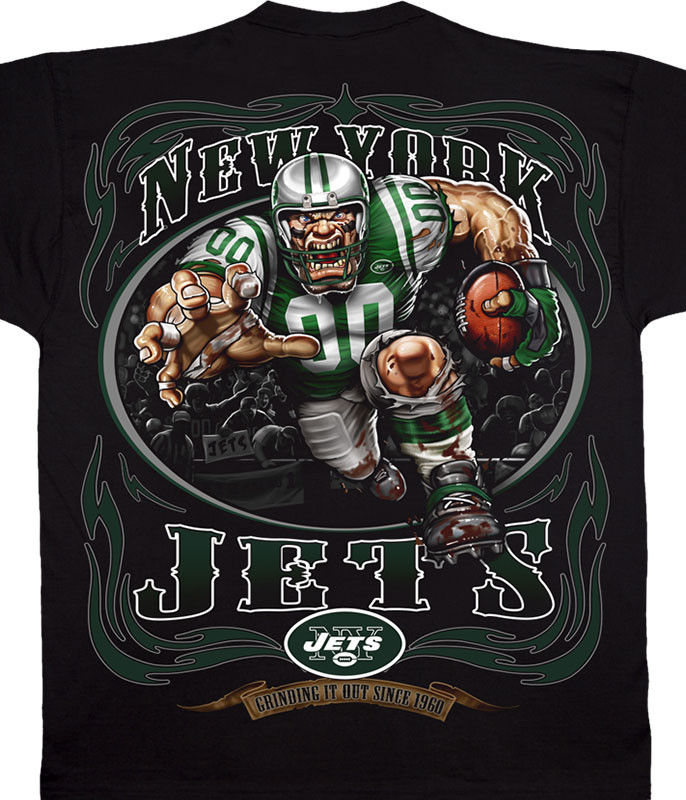 NFL New York Jets Running Back Black T-Shirt Tee Liquid Blue