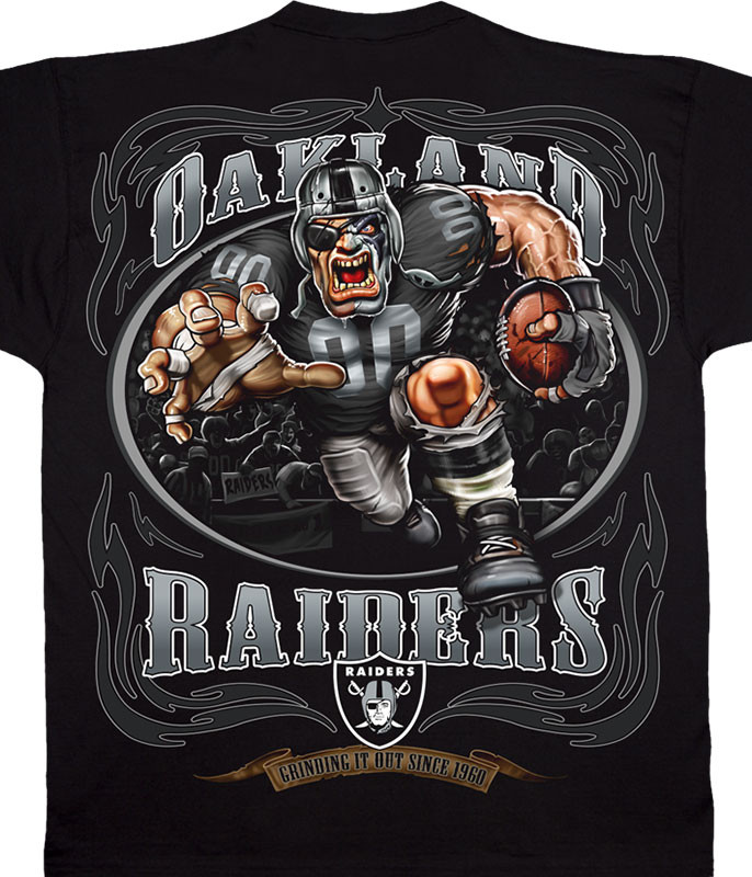 NFL Oakland Raiders Running Back Black T-Shirt Tee Liquid Blue