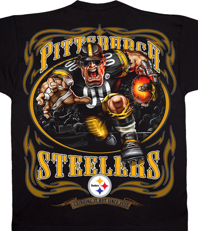 NFL Pittsburgh Steelers Running Back Black T-Shirt Tee Liquid Blue