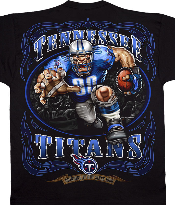 NFL Tennessee Titans Running Back Black T-Shirt Tee Liquid Blue