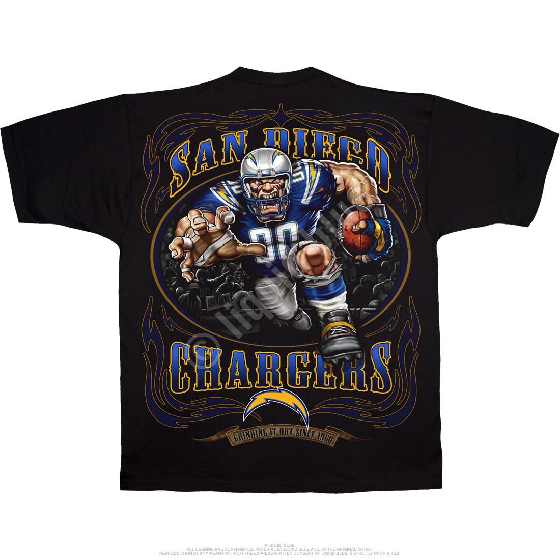 San Diego Chargers Running Back Black T-Shirt