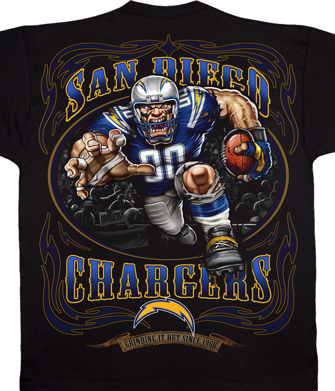 NFL Los Angeles Chargers Running Back Black T-Shirt Tee Liquid Blue