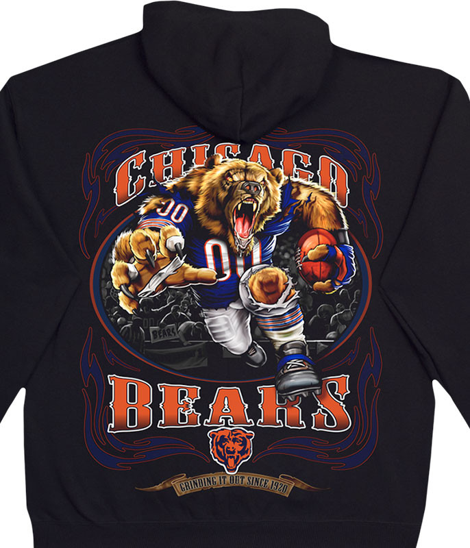 NFL Chicago Bears Running Back Black Hoodie Liquid Blue
