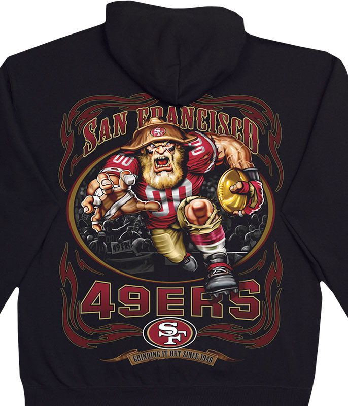 NFL San Francisco 49ers Running Back Black Hoodie Liquid Blue