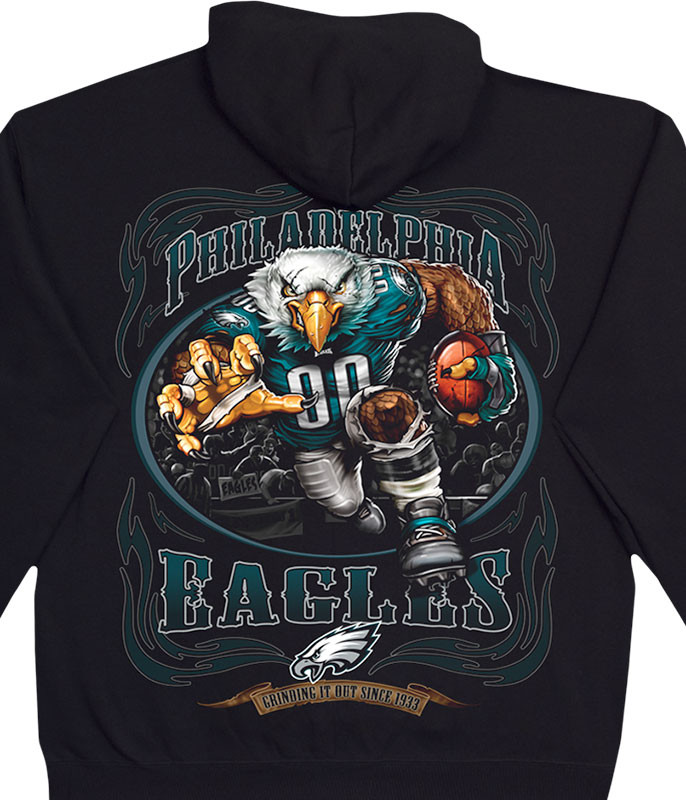 NFL Philadelphia Eagles Running Back Black Hoodie Liquid Blue