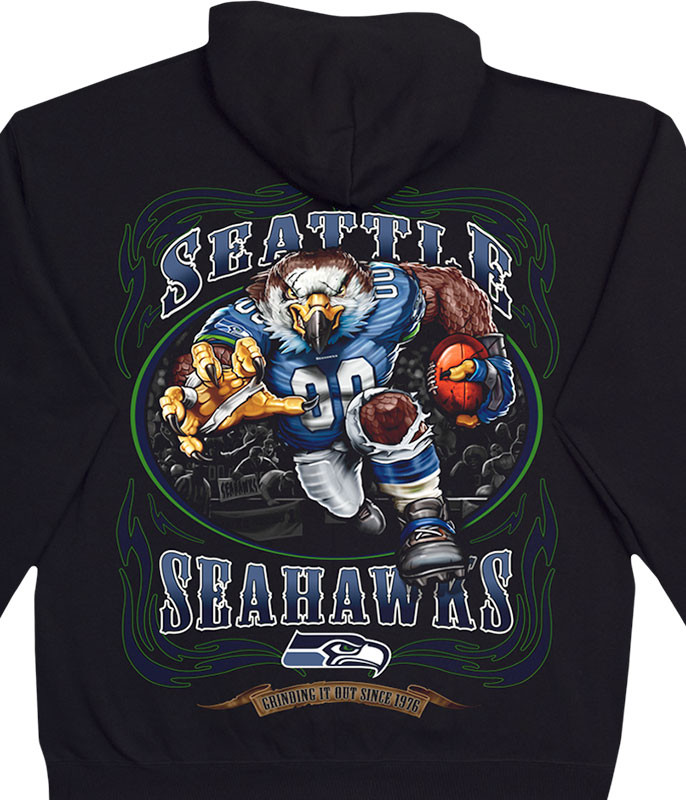 NFL Seattle Seahawks Running Back Black Hoodie Liquid Blue