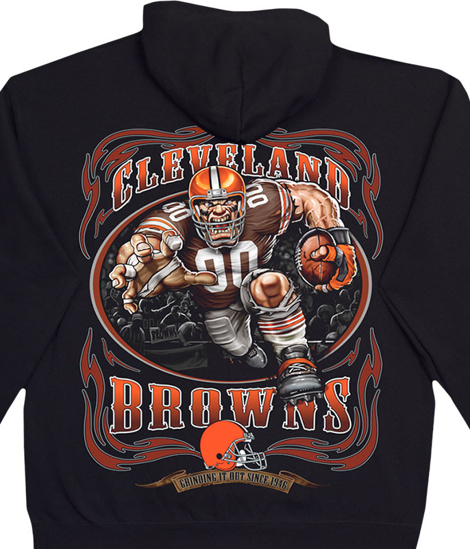 NFL Cleveland Browns Running Back Black Hoodie Liquid Blue