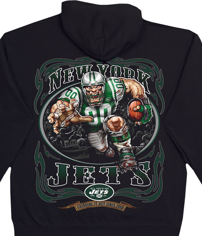 NFL New York Jets Running Back Black Hoodie Liquid Blue