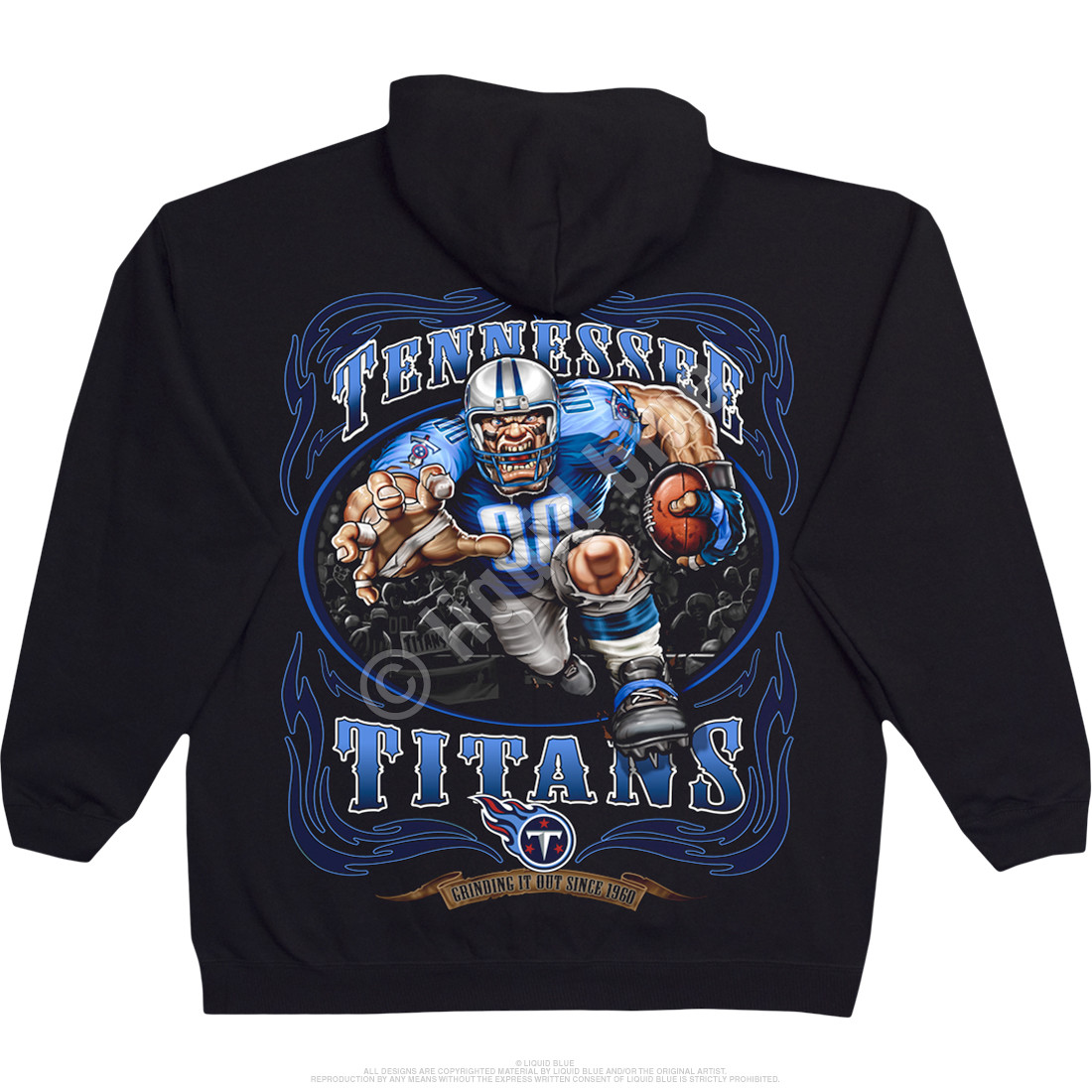 Wholesale NFL Tennessee Titans Running Back Black Hoodie Liquid Blue  hot sale