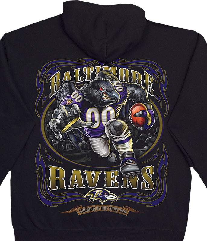 NFL Baltimore Ravens Running Back Black Hoodie Liquid Blue