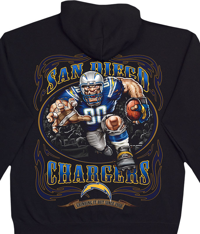 NFL Los Angeles Chargers Running Back Black Hoodie Liquid Blue