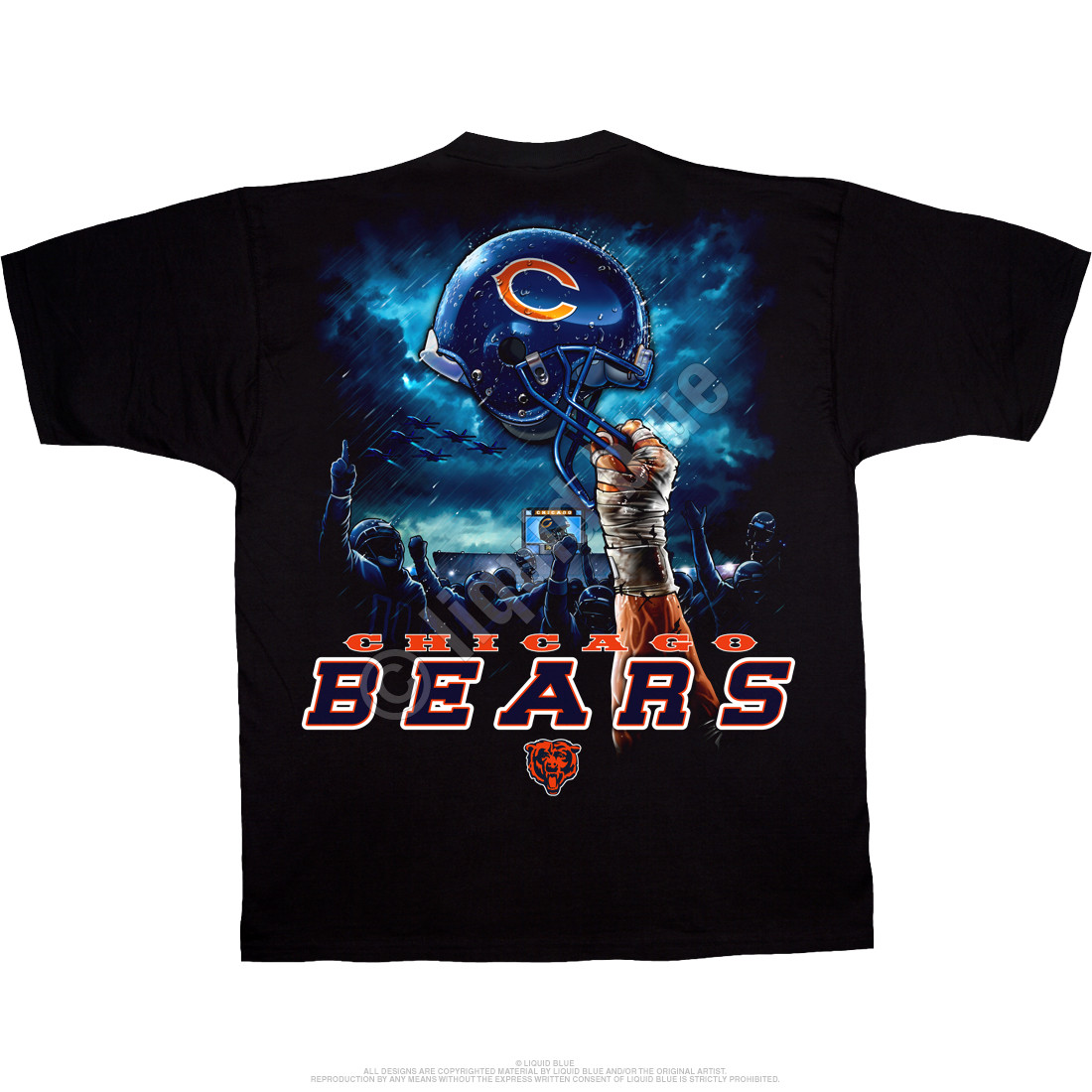 Chicago Bears Sky Helmet Black T-Shirt