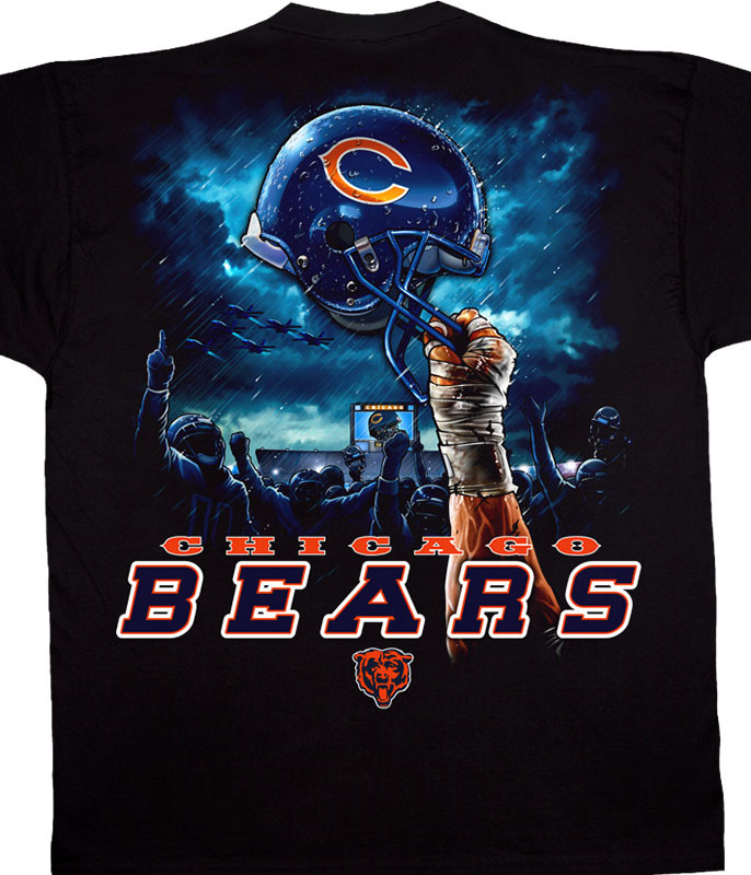 NFL Chicago Bears Sky Helmet Black T-Shirt Tee Liquid Blue