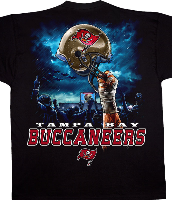 NFL Tampa Bay Buccaneers Sky Helmet Black T-Shirt Tee Liquid Blue