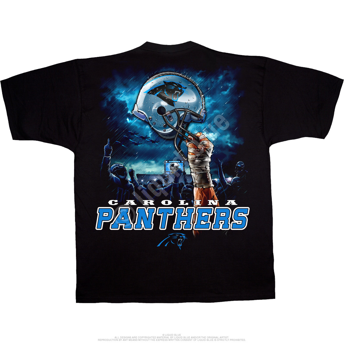 Carolina Panthers Sky Helmet Black T-Shirt