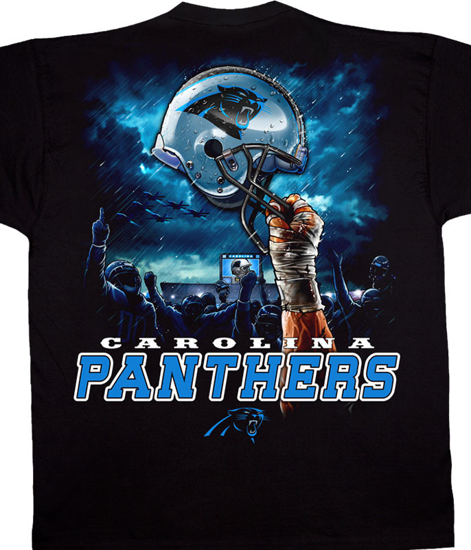 NFL Carolina Panthers Sky Helmet Black T-Shirt Tee Liquid Blue