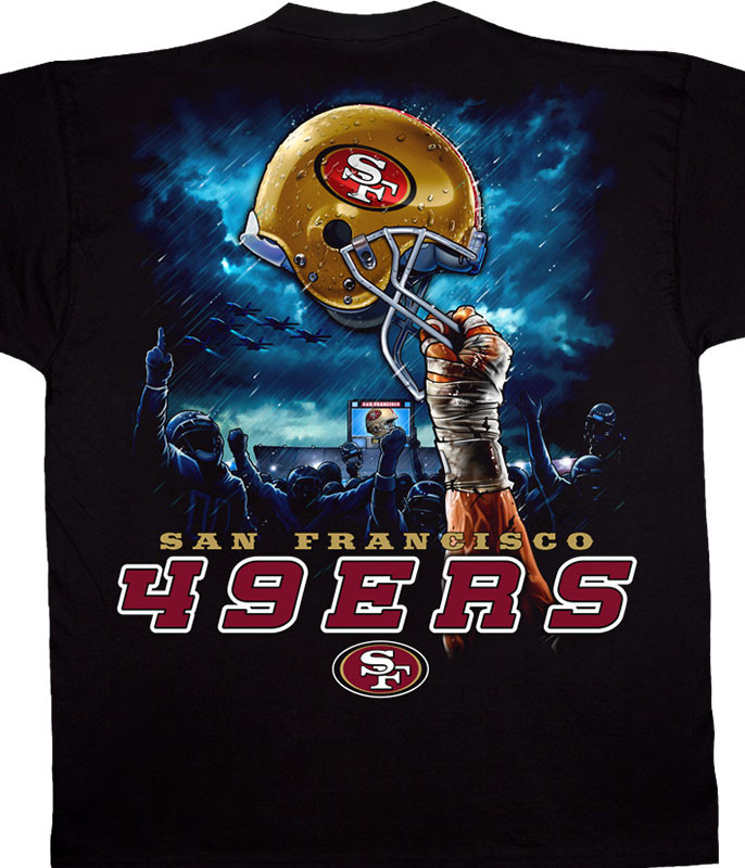 NFL San Francisco 49ers Sky Helmet Black T-Shirt Tee Liquid Blue