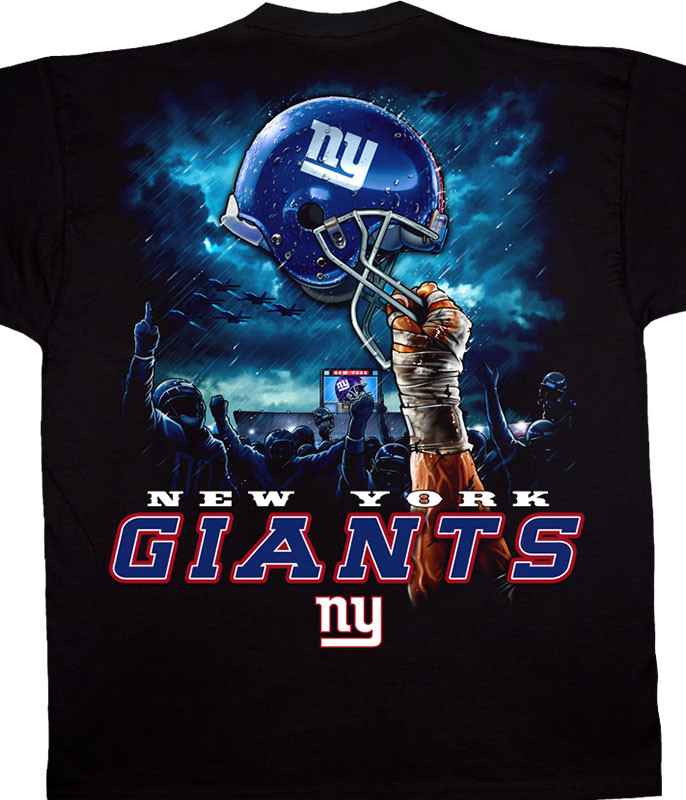 NFL New York Giants Sky Helmet Black T-Shirt Tee Liquid Blue