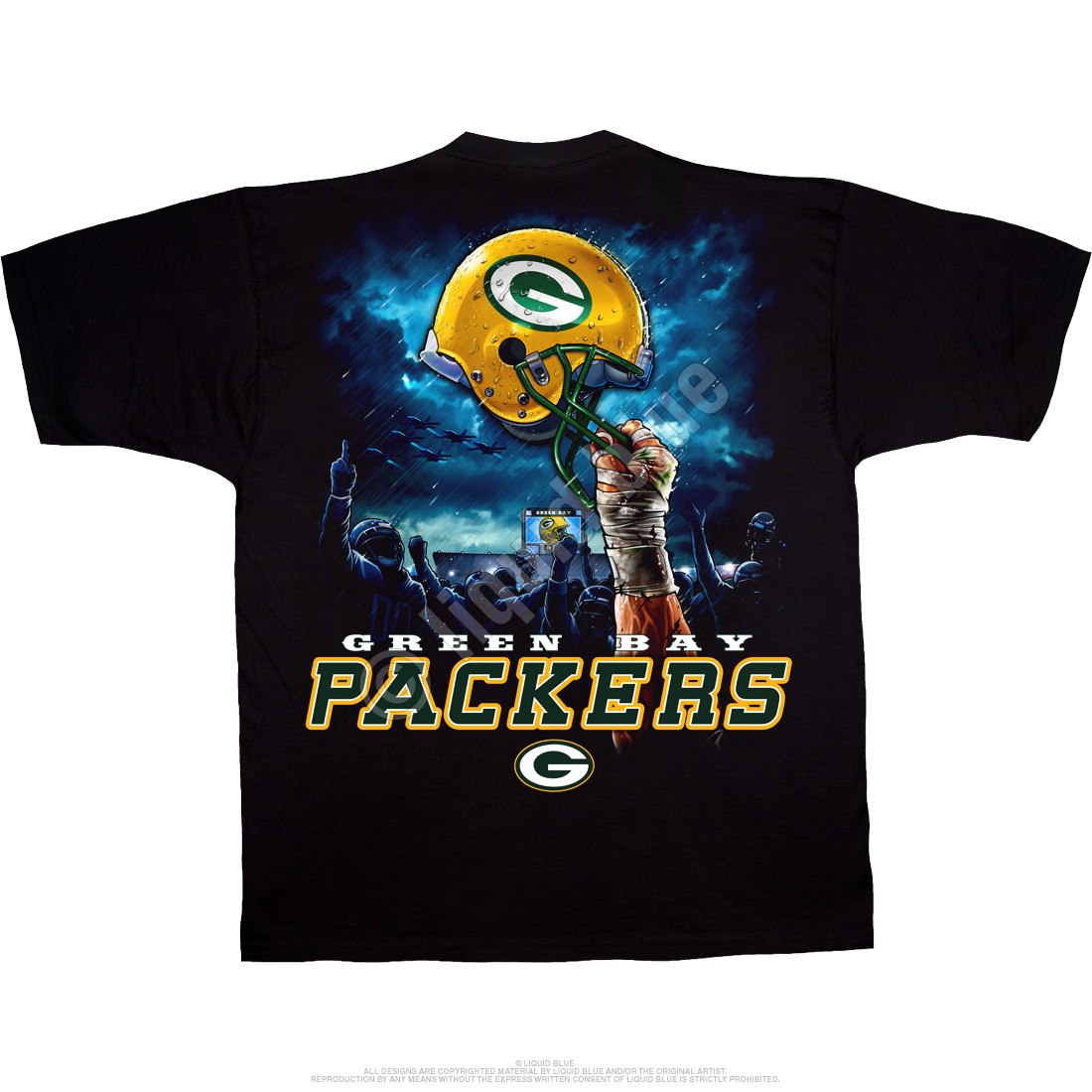 Green Bay Packers Sky Helmet Black T-Shirt