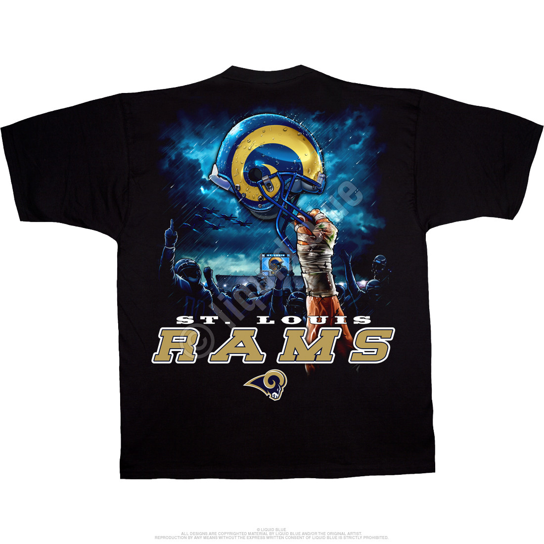 Los Angeles Rams Sky Helmet Black T-Shirt