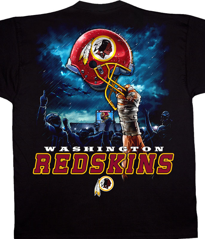 NFL Washington Redskins Sky Helmet Black T-Shirt Tee Liquid Blue