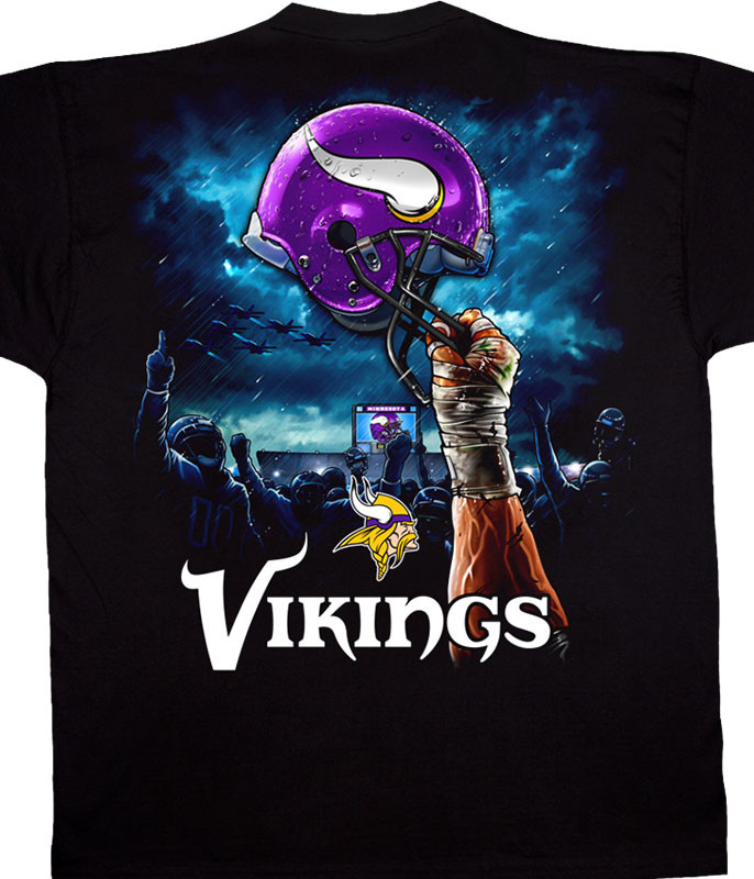 NFL Minnesota Vikings Sky Helmet Black T-Shirt Tee Liquid Blue