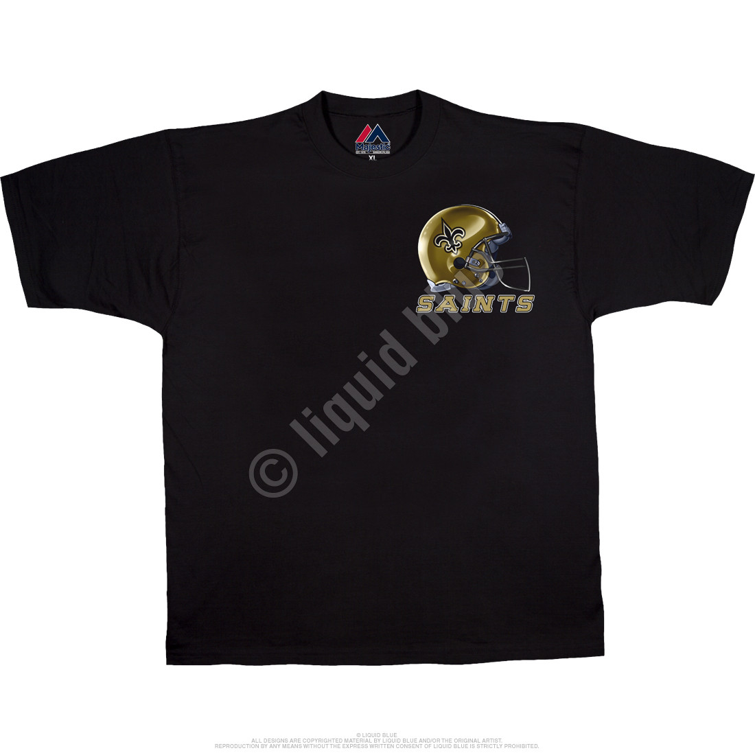 New Orleans Saints Sky Helmet Black T-Shirt