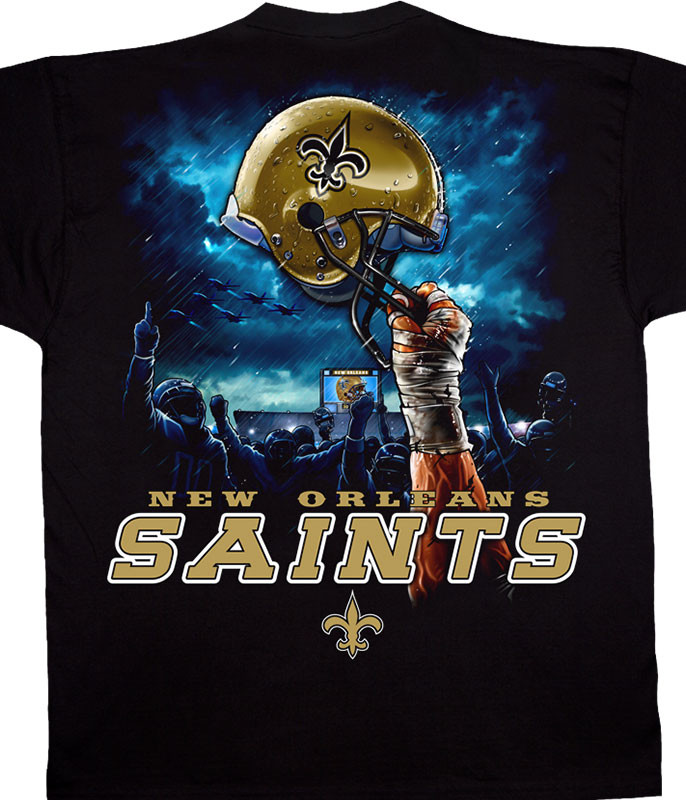 NFL New Orleans Saints Sky Helmet Black T-Shirt Tee Liquid Blue