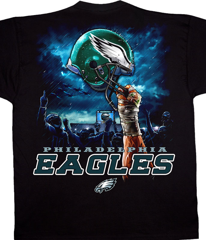 NFL Philadelphia Eagles Sky Helmet Black T-Shirt Tee Liquid Blue