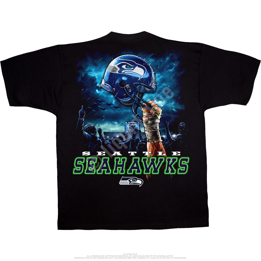 46bbefbaf6a4 NFL Seattle Seahawks Sky Helmet Black T-Shirt Tee Liquid Blue