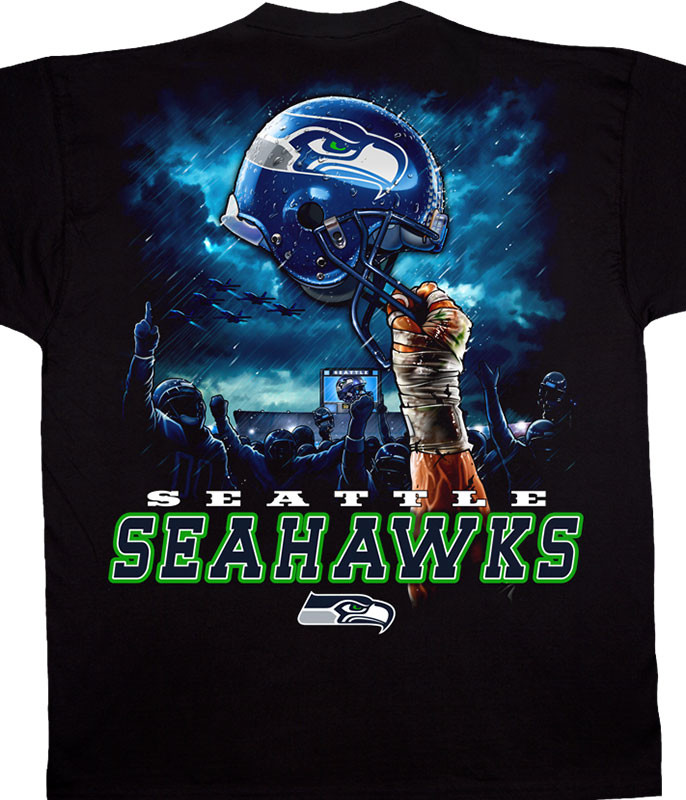 NFL Seattle Seahawks Sky Helmet Black T-Shirt Tee Liquid Blue