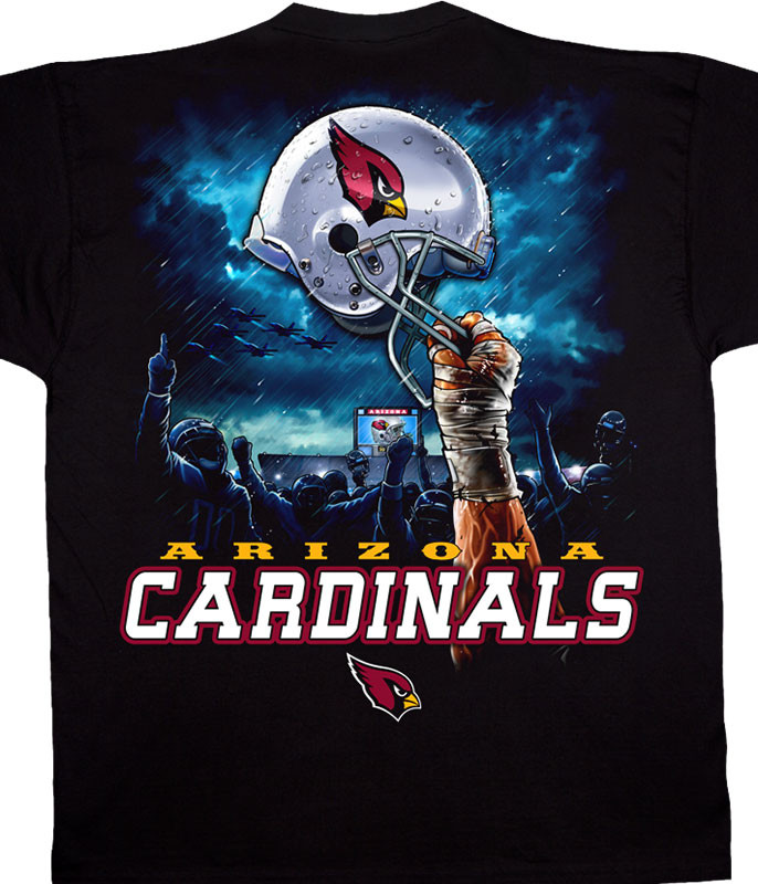 NFL Arizona Cardinals Sky Helmet Black T-Shirt Tee Liquid Blue