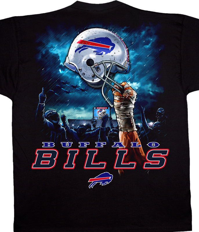 NFL Buffalo Bills Sky Helmet Black T-Shirt Tee Liquid Blue