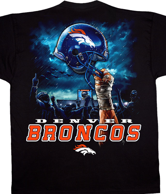 NFL Denver Broncos Sky Helmet Black T-Shirt Tee Liquid Blue