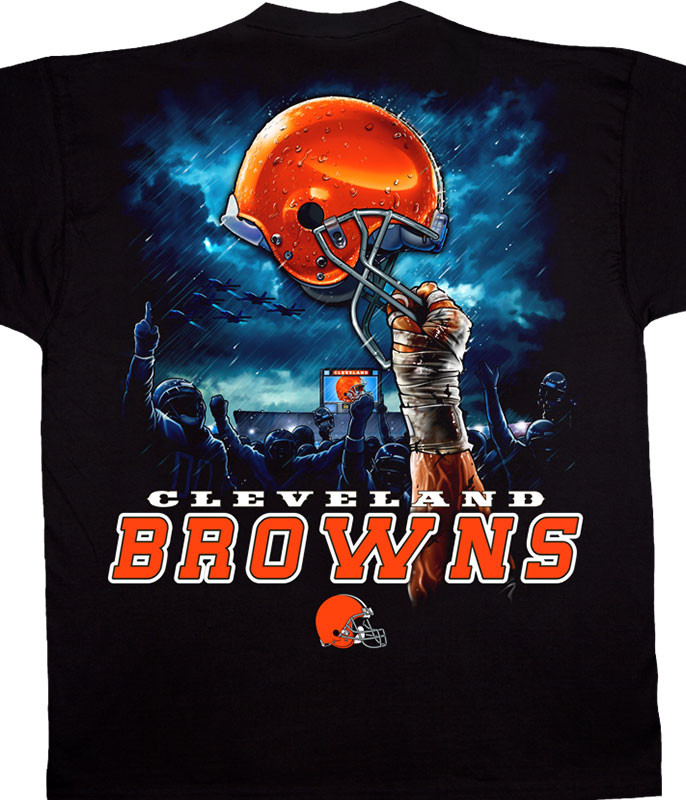 NFL Cleveland Browns Sky Helmet Black T-Shirt Tee Liquid Blue