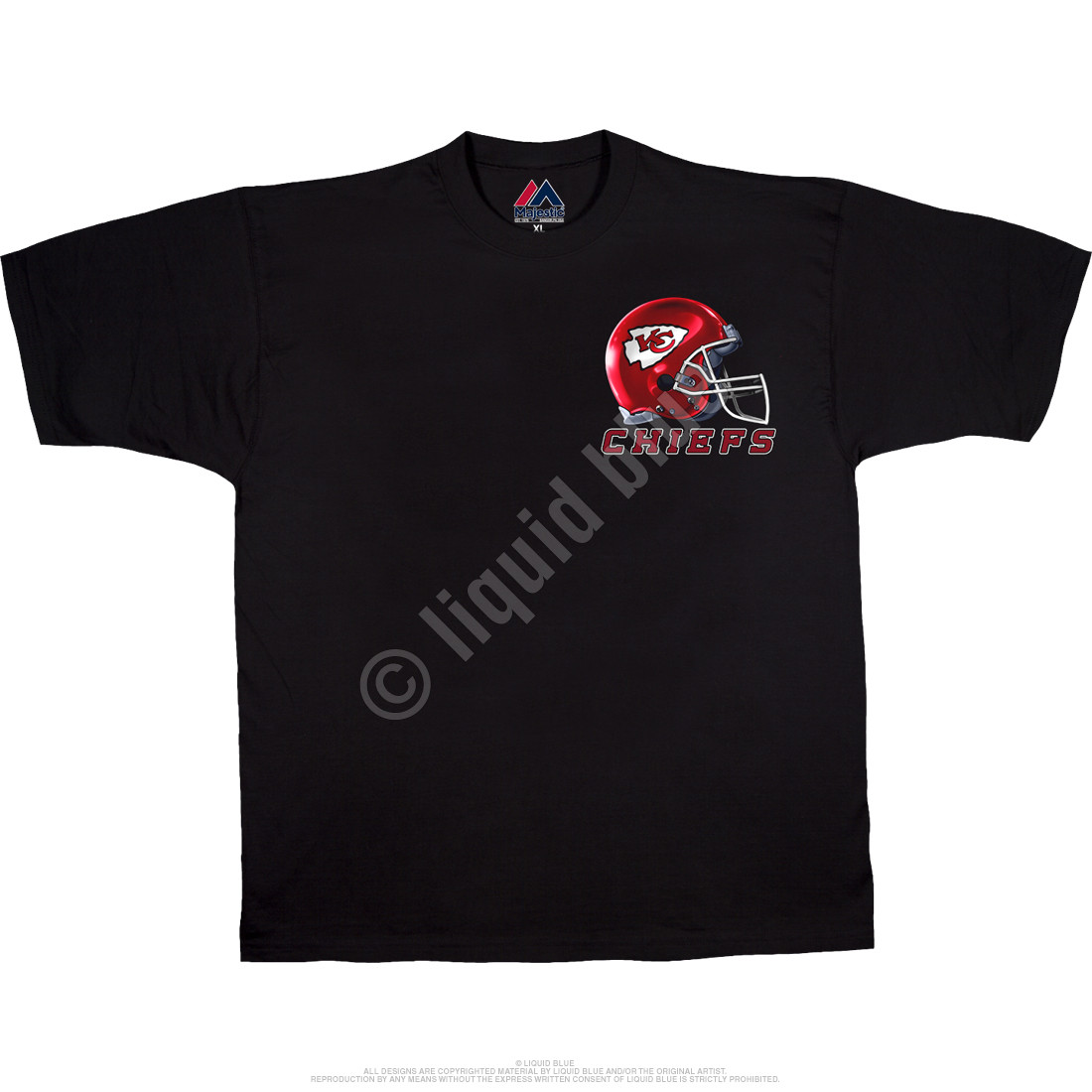Kansas City Chiefs Sky Helmet Black T-Shirt