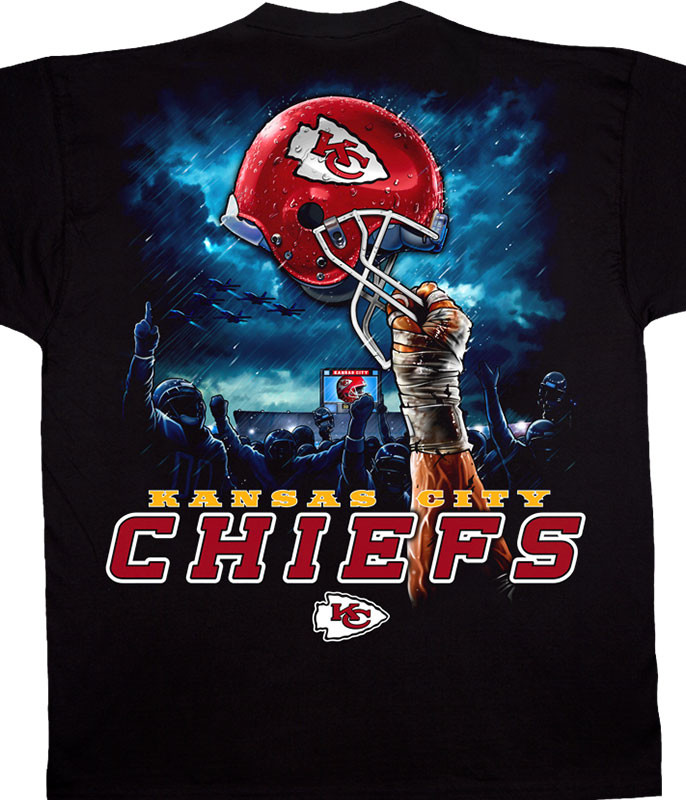 NFL Kansas City Chiefs Sky Helmet Black T-Shirt Tee Liquid Blue